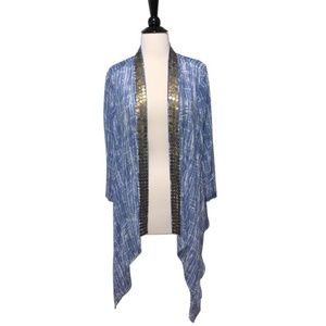 Chico's Shrug Cardi Open Front Sequin Detail Shawl
